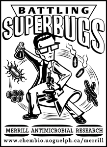 An artist's rendition of our research lab's battle against the superbugs!